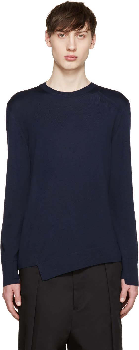 Alexander Mcqueen Navy Wool Asymmetric Sweater