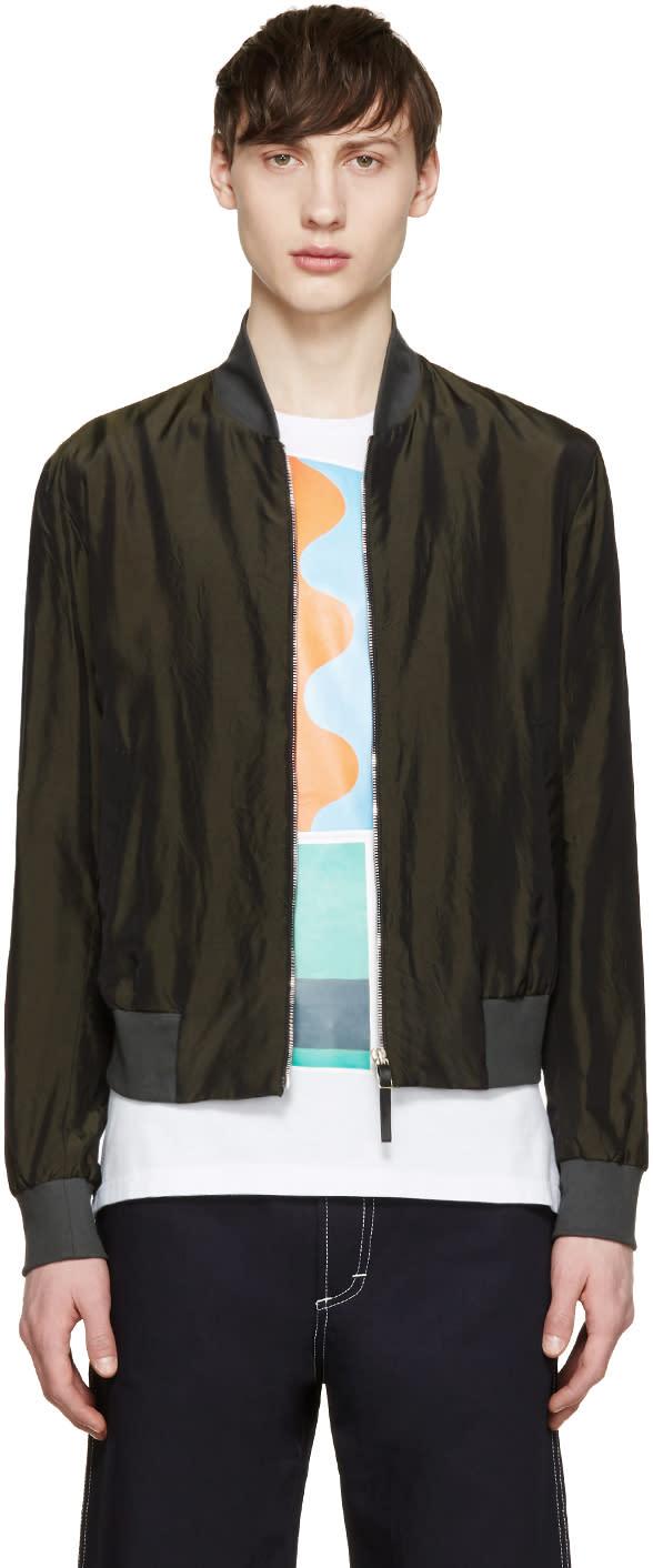 Paul Smith Green Cupro Bomber Jacket