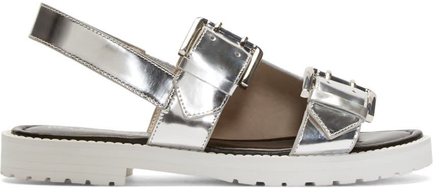 Opening Ceremony Silver Leather Monk Strap Sandals