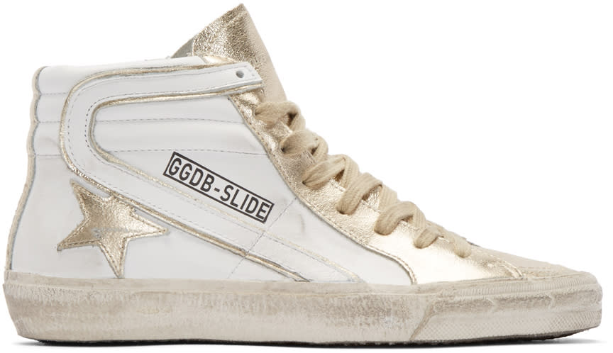Golden Goose White and Gold Slide High-top Sneakers