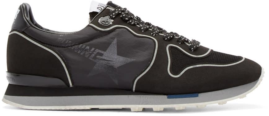 Golden Goose Black Technical Neon Running Sneakers