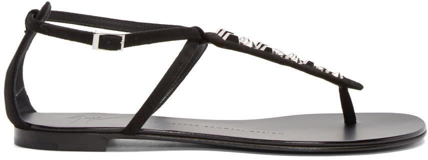 Giuseppe Zanotti Black Studded Nuvorock Sandals