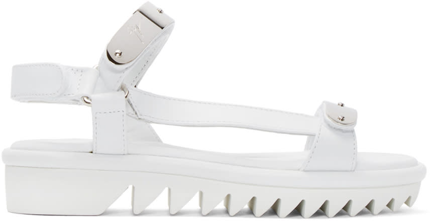 Giuseppe Zanotti White and Silver Two Bar Sandals