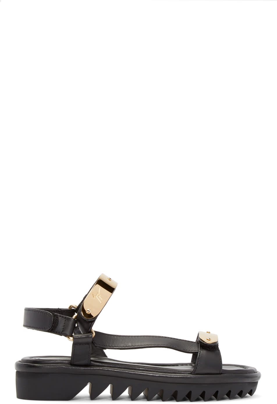 Giuseppe Zanotti Black and Gold Two Bar Sandals
