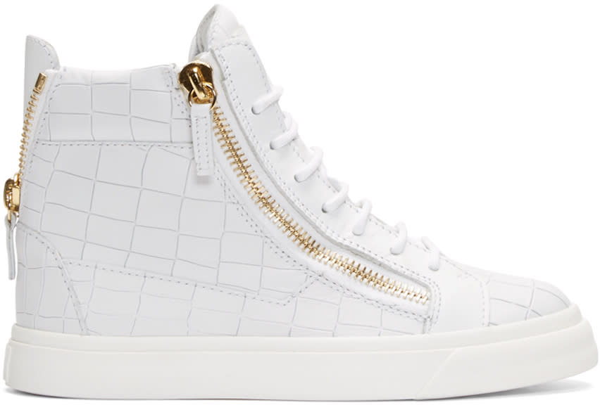 Giuseppe Zanotti White Croc-embossed Ringo London Sneakers