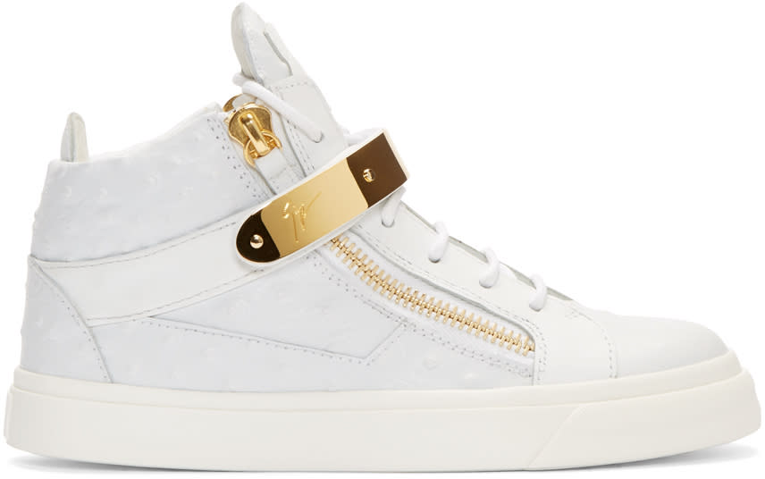 Giuseppe Zanotti White Leather Mid-top London Sneakers