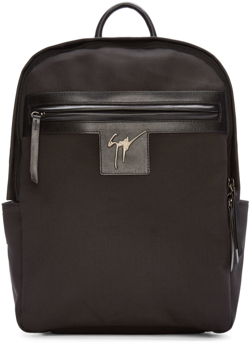 Giuseppe Zanotti Black Canvas and Leather Logo Backpack