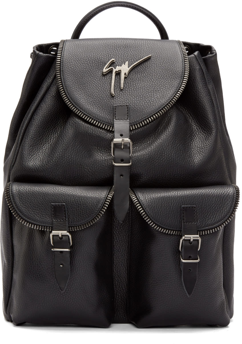 Giuseppe Zanotti Black Zip Trim Backpack
