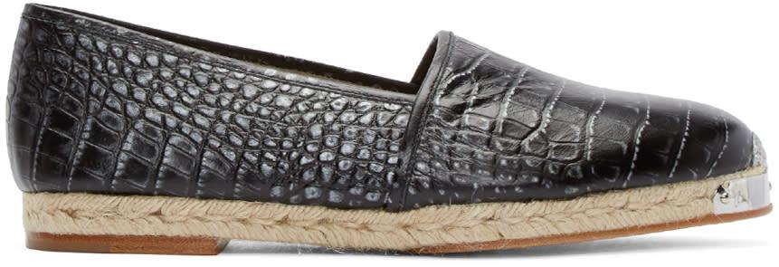 Giuseppe Zanotti Black Croc-embossed Espadrilles