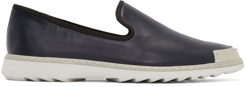Giuseppe Zanotti Navy Leather Loafers