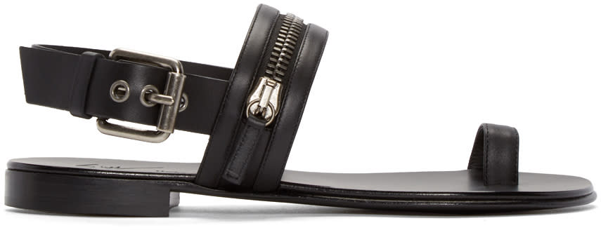 Giuseppe Zanotti Black Leather Zipper Sandals