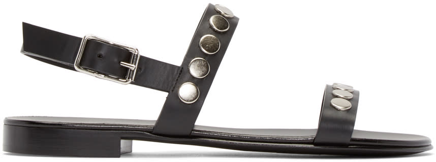 Giuseppe Zanotti Black Leather Studded Sandals