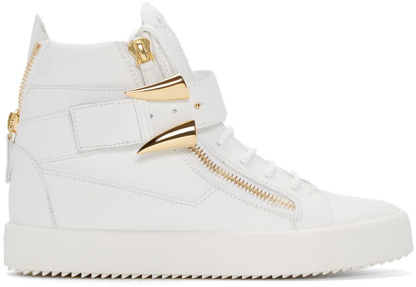 Giuseppe Zanotti White and Gold Horn High-top London Sneakers