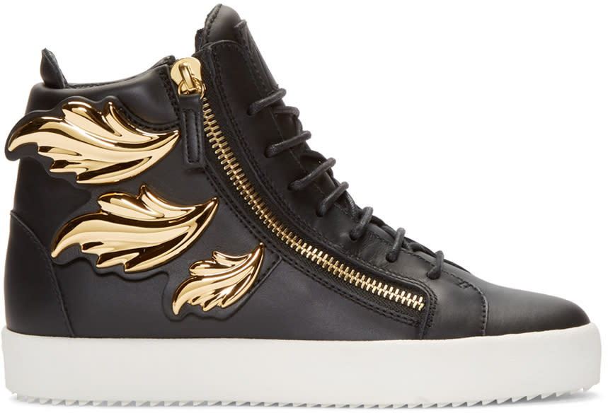 Giuseppe Zanotti Black Leather Leaf High-top London Sneakers