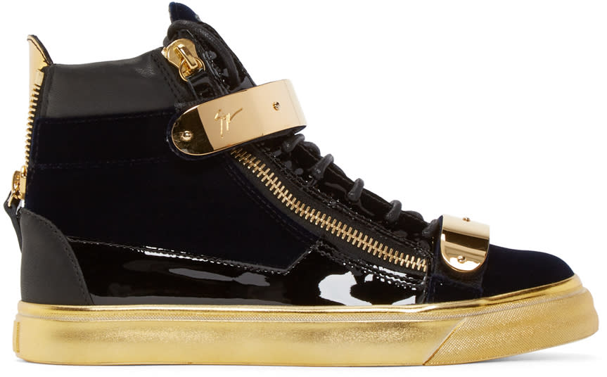 Giuseppe Zanotti Black and Gold Velvet London High-top Sneakers