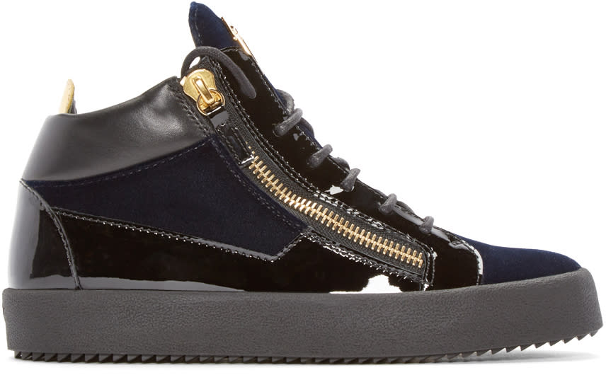 Giuseppe Zanotti Black and Navy Velvet London Mid-top Sneakers