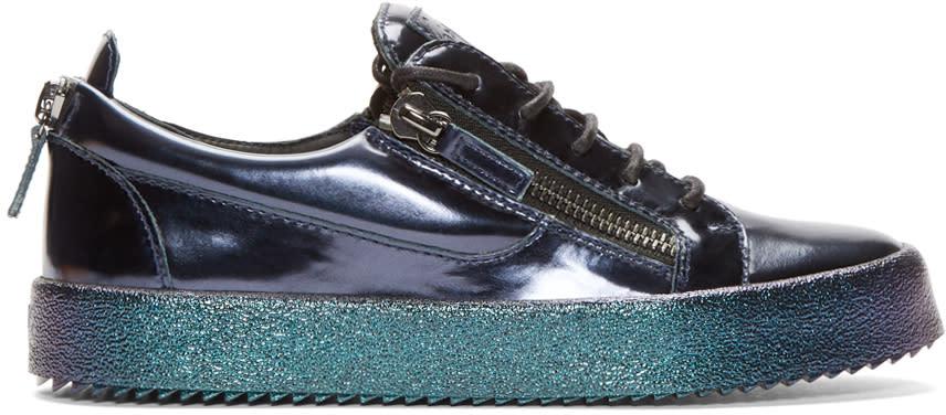 Giuseppe Zanotti Blue Metallic Leather Low-top London Sneakers