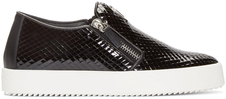 Giuseppe Zanotti Black Patent Leather Slip-on London Sneakers