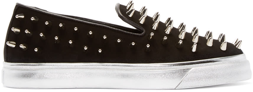 Giuseppe Zanotti Black Suede Spike Slip-on Sneakers