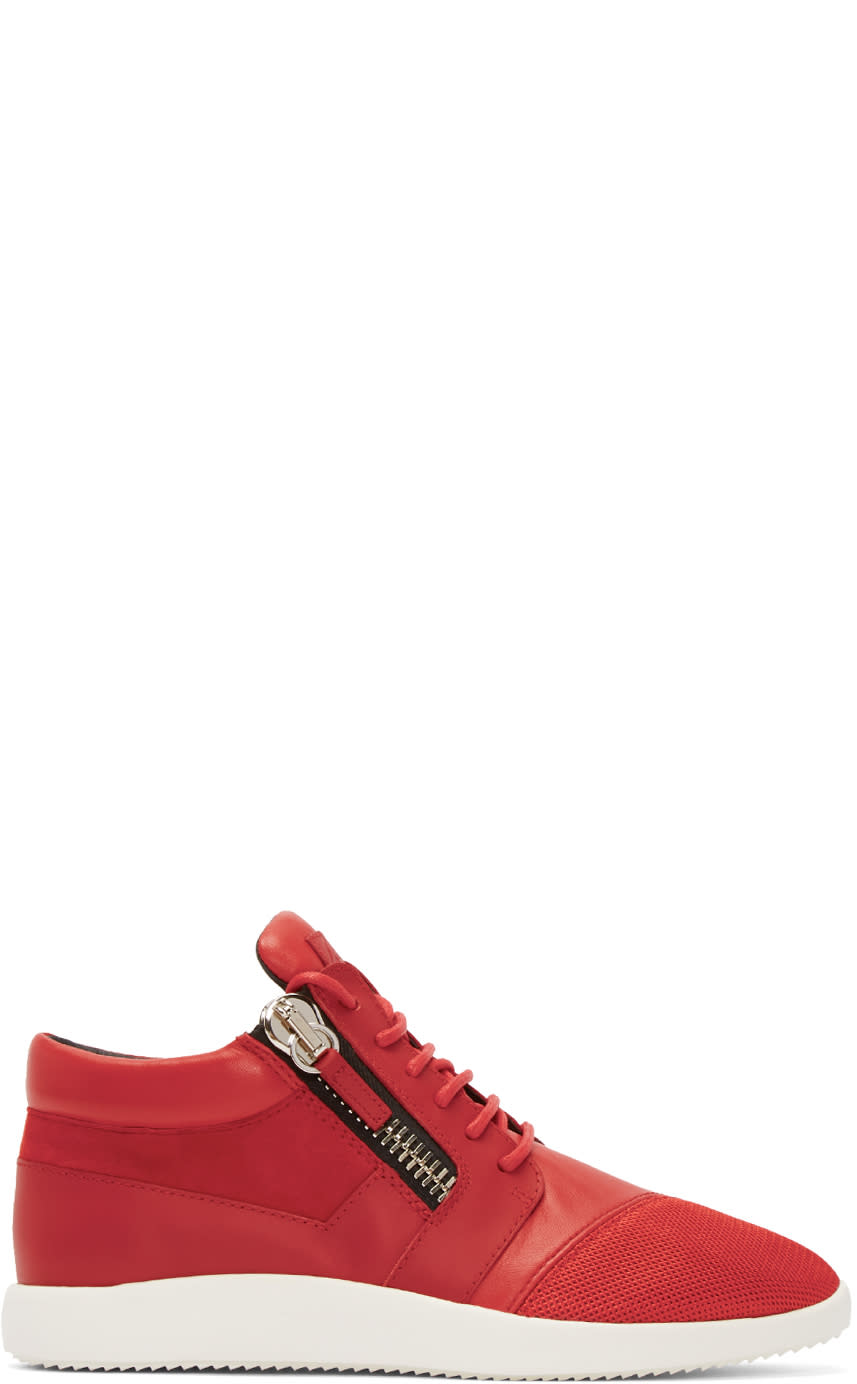 Giuseppe Zanotti Red Leather and Mesh Megatron Sneakers