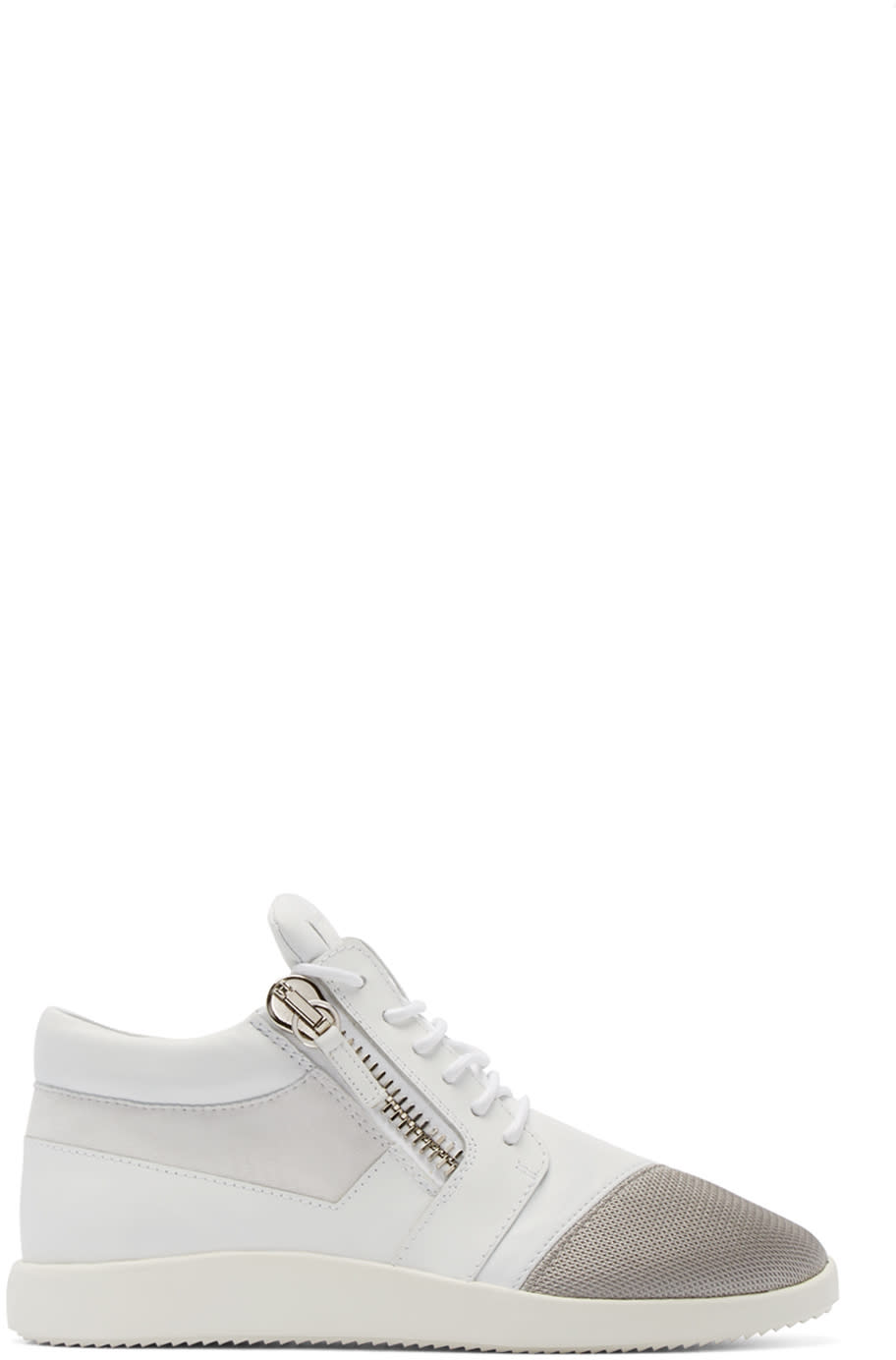 Giuseppe Zanotti White Leather and Mesh Megatron Sneakers