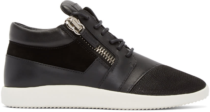 Giuseppe Zanotti Black Leather and Mesh Megatron Sneakers