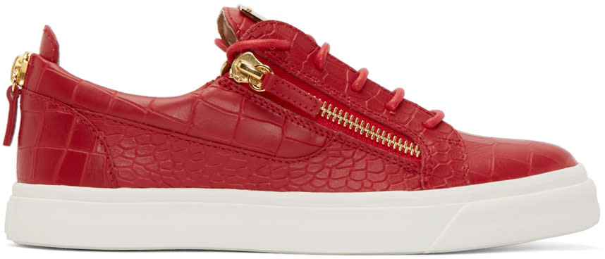 Giuseppe Zanotti Red Croc-embossed London Sneakers