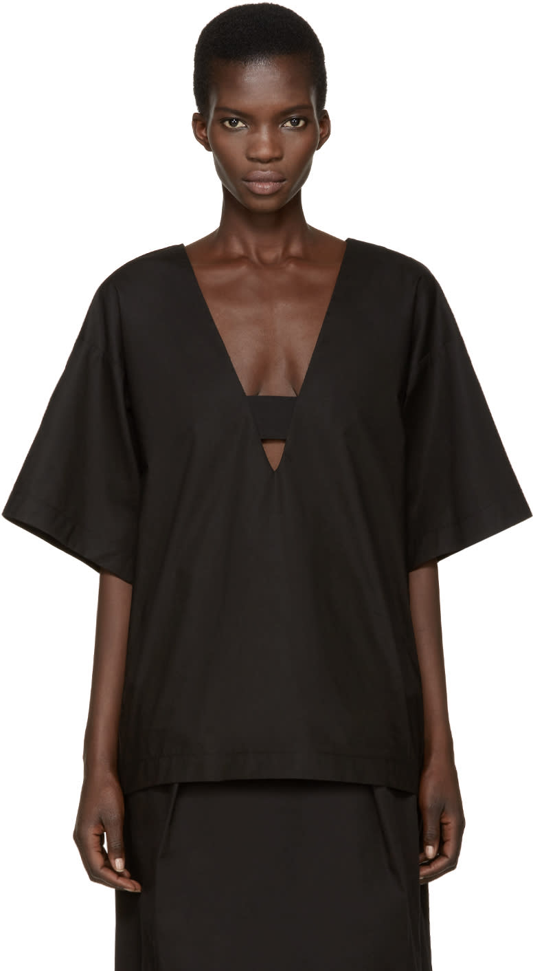 Damir Doma Black Deep V-neck Tarida Top