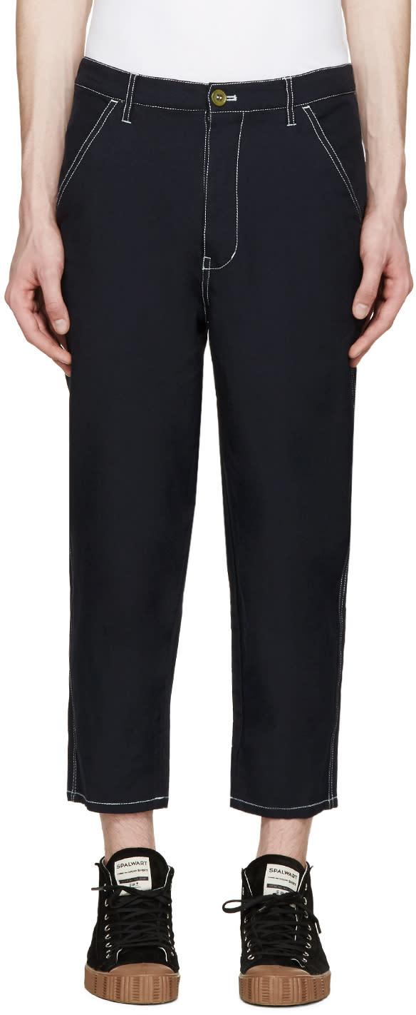 Comme Des Garçons Shirt ネイビー コントラスト ステッチ ロングパンツ