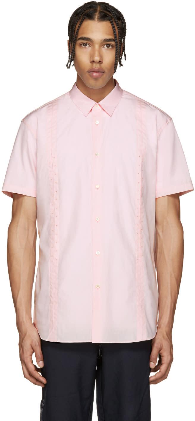 Comme Des Garcons Shirt Pink Poplin Eyelet Shirt