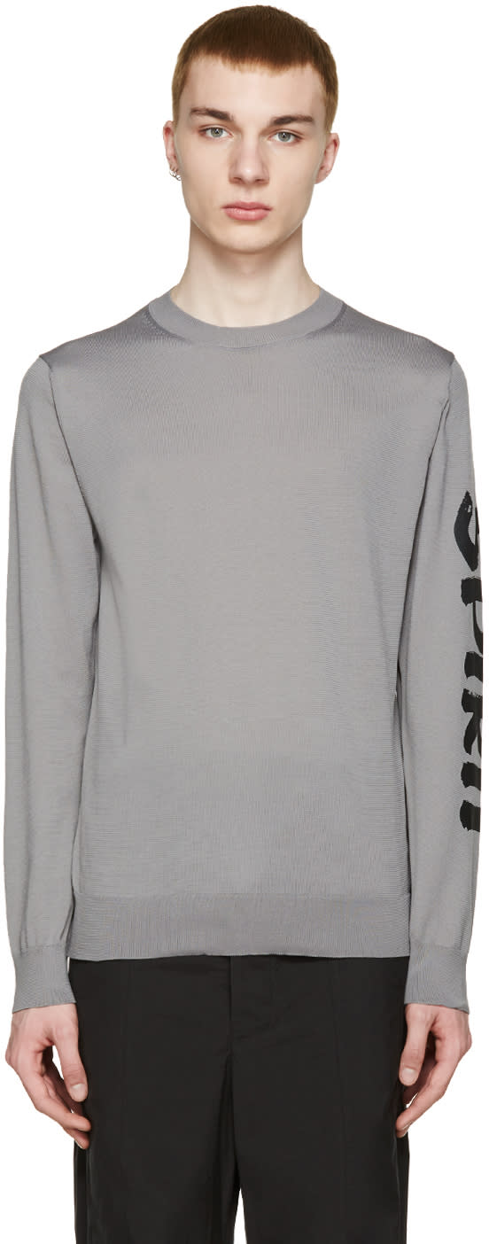 Comme Des Garcons Shirt Grey Printed Sleeve T-shirt