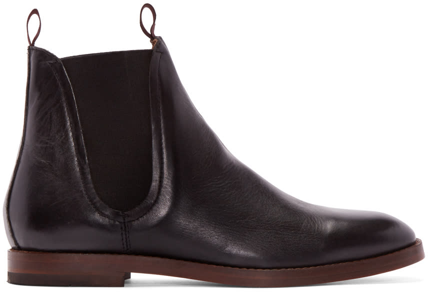 H By Hudson Black Leather Tamper Boots