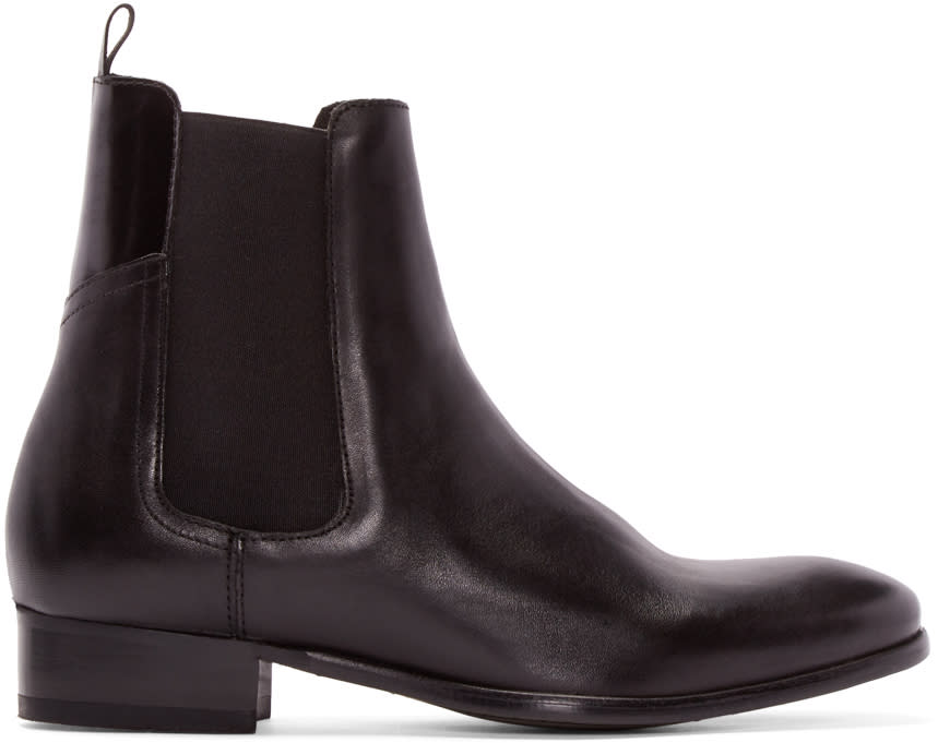 H By Hudson Black Leather Watts Chelsea Boots