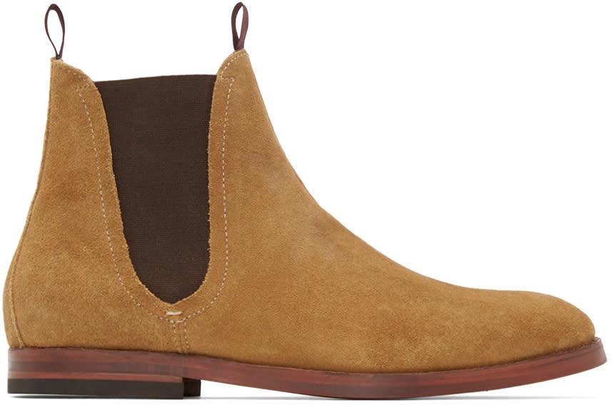 H By Hudson Beige Suede Tamper Boots