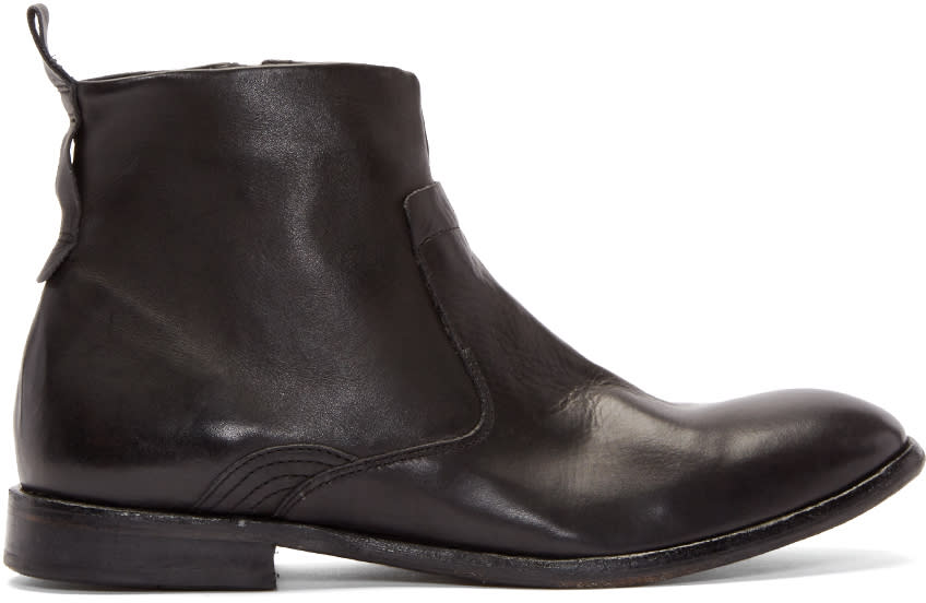 H By Hudson Black Leather Kansai Ankle Boots