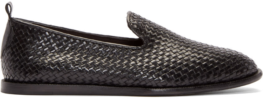 H By Hudson Black Leather Ipanema Loafers