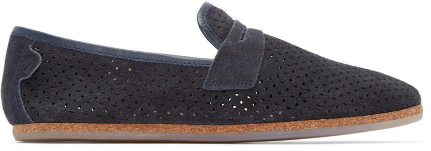 H By Hudson Navy Platt Perforated Loafers