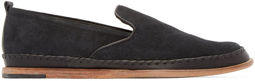 H By Hudson Black Macuco Suede Loafers