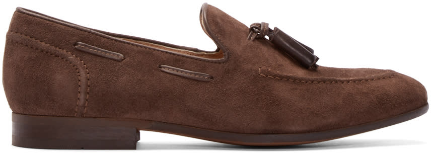 H By Hudson Brown Suede Pierre Loafers