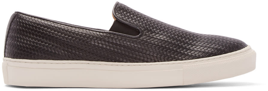 H By Hudson Black Leather Hannuk 2 Slip-on Sneakers