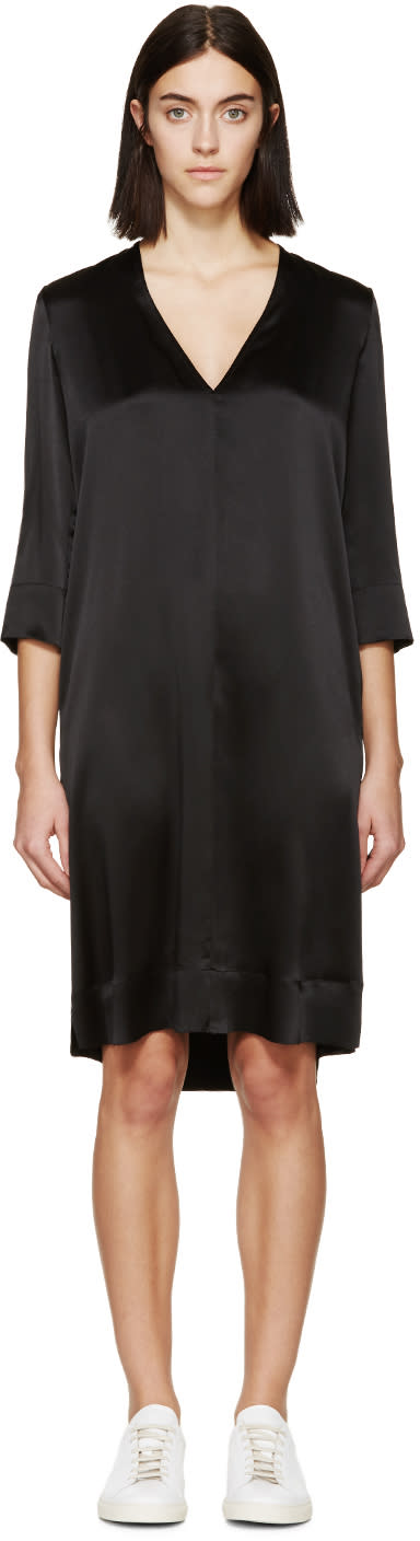 Raquel Allegra Black Silk V-neck Dress