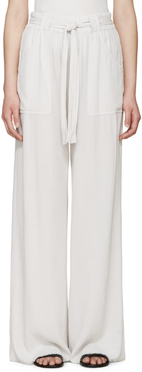 Raquel Allegra Grey Crepe Belted Trousers
