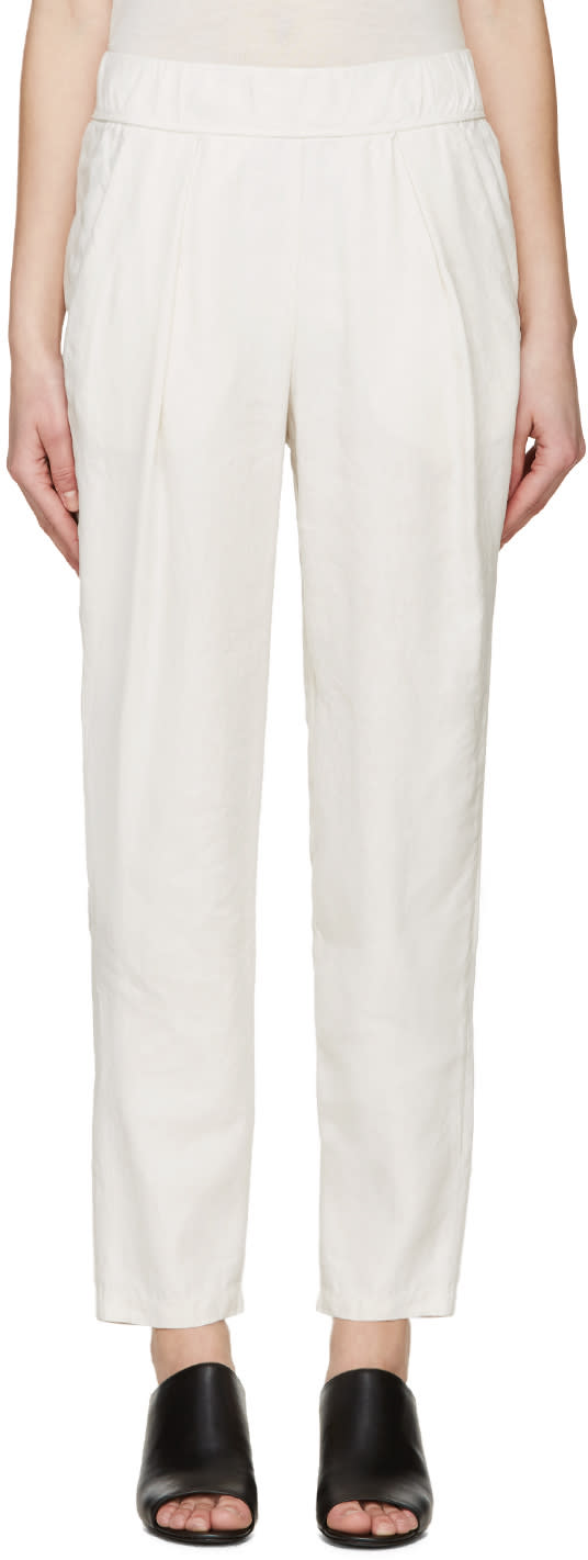 Raquel Allegra Beige Linen Lounge Pants