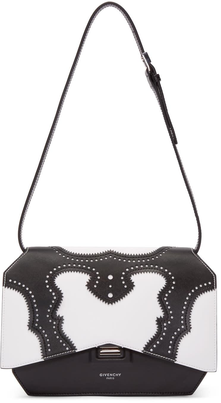 Givenchy ブローグ ミディアム ボウ カット バッグ、ブラック&ホワイト