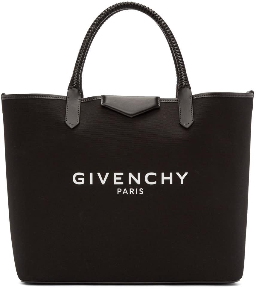 Givenchy Black Logo Large Antigona Shopping Tote