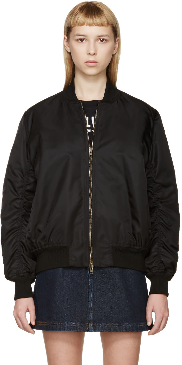 Givenchy Black Back Zip Bomber Jacket