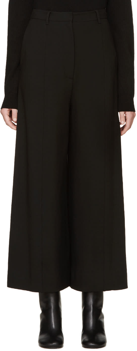 Givenchy Black Cropped Wide-leg Trousers