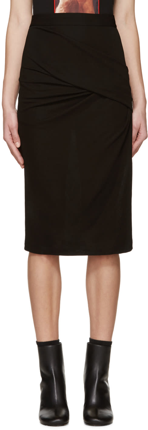 Givenchy Black Draped Crepe Skirt