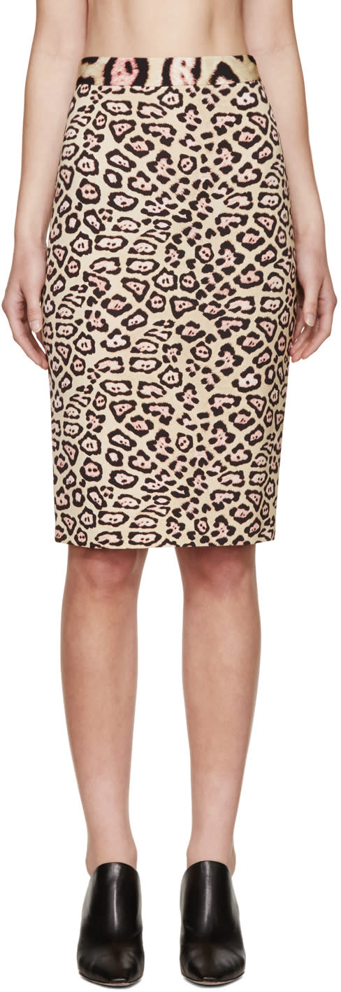 Image of Givenchy Beige and Pink Jaguar Skirt