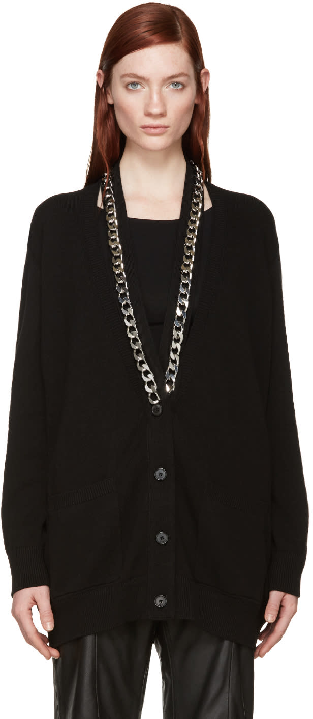 Givenchy Black Knit Chain Cardigan